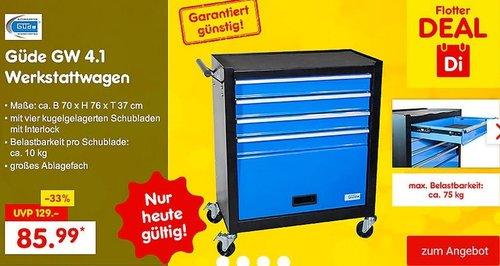 Güde GW 4.1 Werkstattwagen mit 4  Schubladen und Ablagefach - jetzt 5% billiger