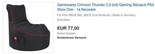 Gamewarez Crimson Thunder 2.0 (rot) Gaming Sitzsack - jetzt 26% billiger