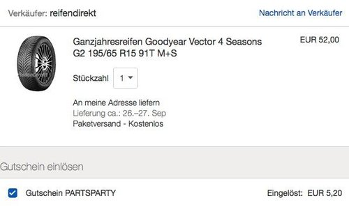 Ganzjahresreifen Goodyear Vector 4 Seasons G2 195/65 R15 91T M+S - jetzt 10% billiger