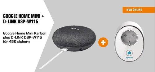 Google Home Mini Karbon + D-LINK DSP-W115 WLAN-Steckdose - jetzt 25% billiger