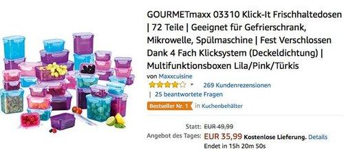GOURMETmaxx 03310 Klick-It Frischhaltedosen 72 Teile - jetzt 20% billiger