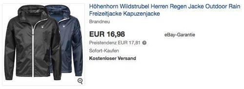 Höhenhorn Wildstrubel Herren Regenjacke in Schwarz oder Dunkelblau - jetzt 32% billiger