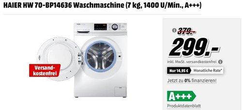 HAIER HW 70-BP14636 Waschmaschine (7 kg, 1400 U/Min., A+++) - jetzt 21% billiger