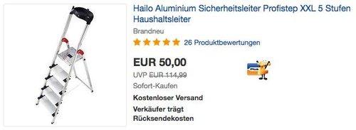 Hailo Aluminium Profistep XXL 5 Stufen Haushaltsleiter - jetzt 29% billiger