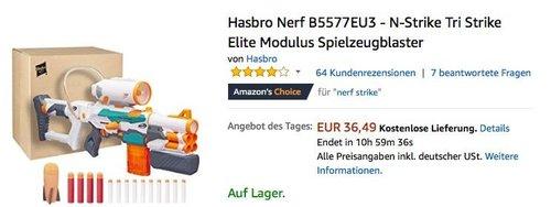 Hasbro Nerf B5577EU3 - N-Strike Tri Strike Elite Modulus Spielzeugblaster - jetzt 18% billiger