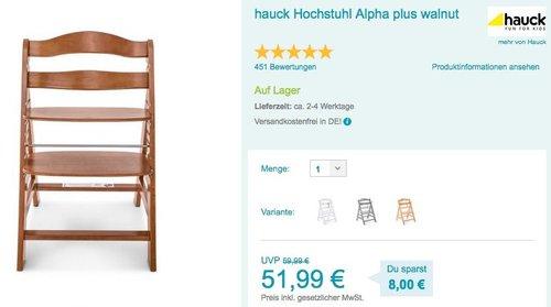 hauck Hochstuhl Alpha Plus - jetzt 13% billiger