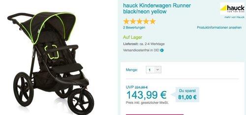 hauck Kinderwagen Runner black/neon yellow - jetzt 20% billiger