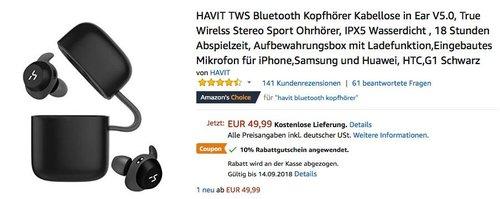 HAVIT TWS Bluetooth In-Ear-Kopfhörer G1 Black mit Ladefunktion in Aufbewahrungsbox - jetzt 10% billiger