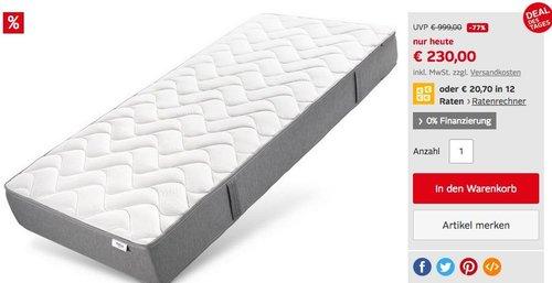 Hilding Sweden Komfortschaummatratze Pure Onecore 140x200 cm, 22 cm hoch - jetzt 33% billiger
