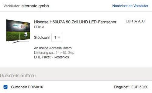 Hisense H50U7A 50 Zoll UHD LED-Fernseher - jetzt 7% billiger