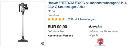 Hoover FREEDOM FD22G beutelloser Akkuhandstaubsauger 2 in 1 - jetzt 10% billiger