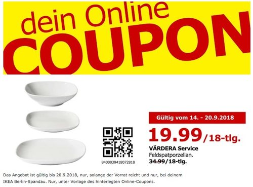 IKEA Berlin-Spandau - VÄRDERA Service Feldspatporzellan, 18-tlg. - jetzt 43% billiger