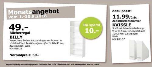 IKEA Chemnitz - BILLY Bücherregal, 80x40 cm, 202 cm hoch, weiß - jetzt 17% billiger