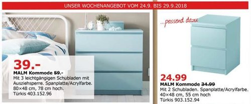 Ikea Dusseldorf Malm Kommode Turkis Fur 39 00 34