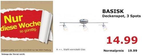 IKEA Freiburg - BASISK Deckenspot, 3 Spots - jetzt 25% billiger