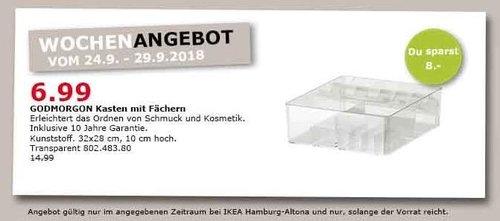 IKEA Hamburg-Altona - GODMORGON Kasten mit Fächern - jetzt 53% billiger