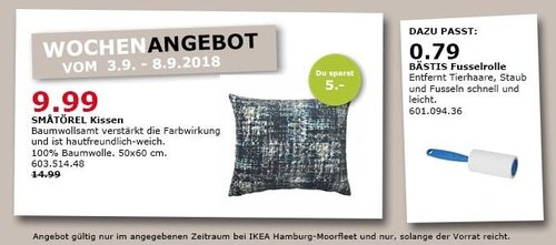 IKEA Hamburg-Moorfleet - SMATÖREL Kissen - jetzt 33% billiger