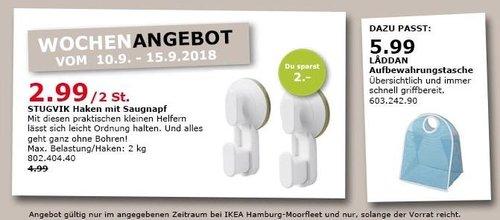 IKEA Hamburg-Moorfleet - STUGVIK Haken mit Saugnapf, 2 St. - jetzt 40% billiger