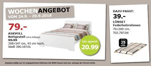 IKEA Kaarst - ASKVOLL Bettgestell - jetzt 21% billiger