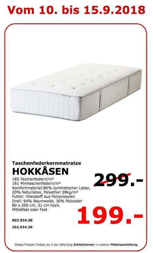 IKEA Koblenz - HOKKASEN Taschenfederkernmatratze, 80x200 cm, 31 cm hoc - jetzt 33% billiger