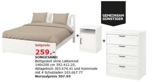 IKEA Nürnberg/Fürth - SOMGESAND Bettgestell, Ablagetisch und Kommode - jetzt 16% billiger