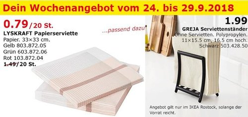 IKEA Rostock - LYSKRAFT Papierserviette 20St. - jetzt 47% billiger