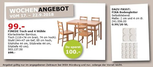 ikea w rzburg finede tisch und 4 st hl f r 99 00 50. Black Bedroom Furniture Sets. Home Design Ideas