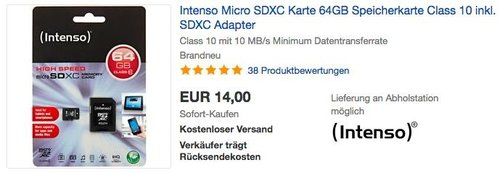 Intenso Micro SDXC Karte 64GB Speicherkarte Class 10 inkl. SDXC Adapter - jetzt 12% billiger