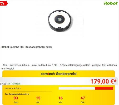 iRobot Roomba 605 Staubsaugroboter in Silber - jetzt 10% billiger