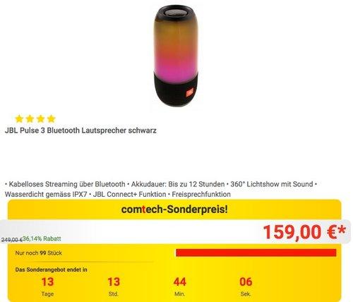 JBL Pulse 3 Bluetooth Lautsprecher in Schwarz - jetzt 14% billiger