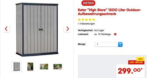 """Keter """"High Store"""" 1500 Liter Outdoor-Aufbewahrungsschrank - jetzt 14% billiger"""