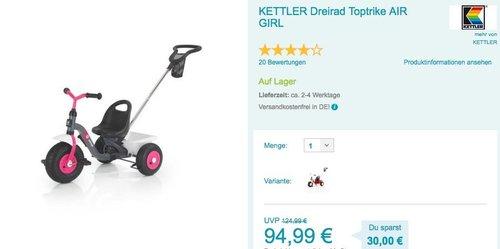 KETTLER Dreirad Toptrike AIR GIRL - jetzt 9% billiger