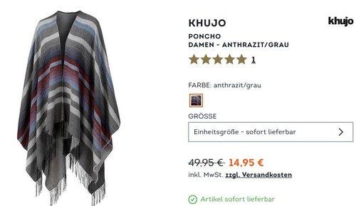 Khujo Poncho Damen - anthrazit/grau - jetzt 24% billiger