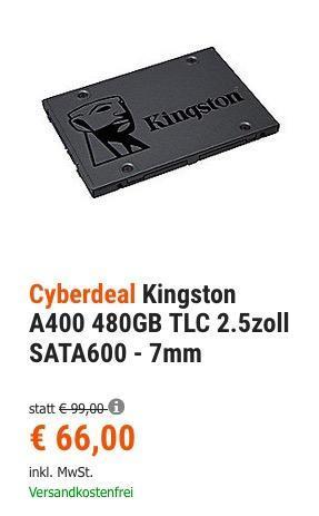 Kingston A400 480GB interne 2.5 Zoll SATA600 SSD Festplatte - jetzt 18% billiger