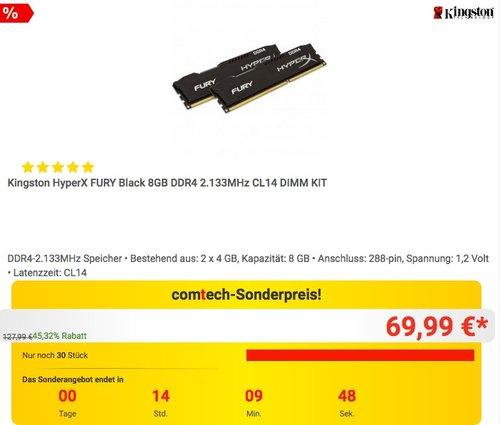 Kingston HyperX FURY Black 8GB DDR4 2.133MHz CL14 DIMM KIT - jetzt 21% billiger