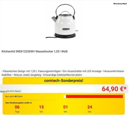 KitchenAid 5KEK1222EWH Wasserkocher 1,25 l Weiß - jetzt 12% billiger