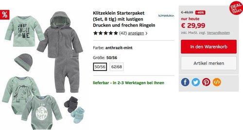 Klitzeklein Starterpaket 8-teilig für Jungen in Größe 50/565 oder 62/68 - jetzt 36% billiger