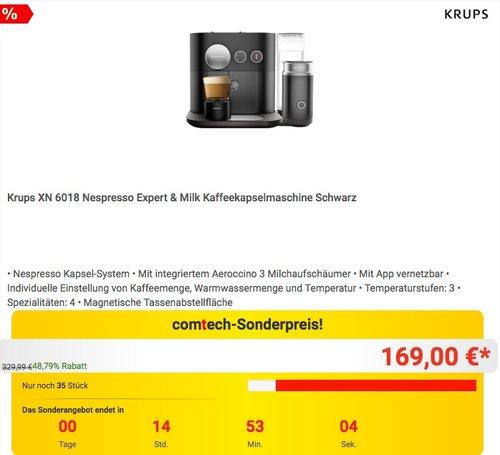 Krups XN 6018 Nespresso Expert & Milk Kaffeekapselmaschine - jetzt 19% billiger