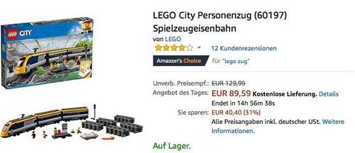 LEGO City Personenzug (60197) Spielzeugeisenbahn - jetzt 16% billiger