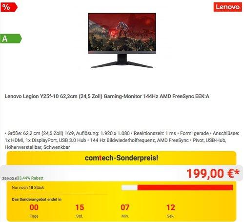 Lenovo Legion Y25f-10 62,2cm (24,5 Zoll) Gaming-Monitor 144Hz AMD FreeSync - jetzt 20% billiger