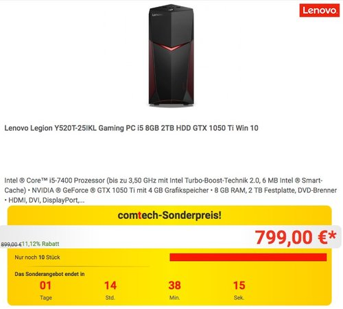 Lenovo Legion Y520T-25IKL Gaming PC i5 8GB 2TB HDD GTX 1050 Ti Win 10 - jetzt 11% billiger