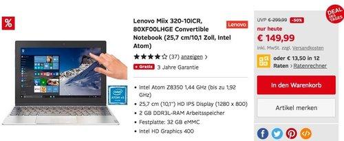 Lenovo Miix 320-10ICR Convertible Tablet-PC 10.1 Zoll, Intel Atom, 32 GB eMMC, 2 GB RAM, Win 10 - jetzt 24% billiger