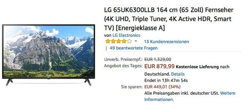 LG 65UK6300LLB 164 cm (65 Zoll) 4K Fernseher - jetzt 7% billiger