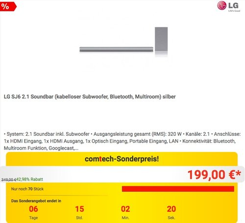 LG SJ6 2.1 (kabelloser Subwoofer, Bluetooth, Multiroom) in Silber - jetzt 20% billiger