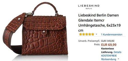 """Liebeskind Berlin Leder-Umhängetasche """"Glendale"""" Braun im Drachenstil - jetzt 33% billiger"""