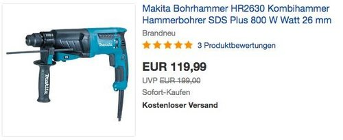 Makita Bohrhammer HR2630 SDS Plus Kombihammer mit Koffer - jetzt 28% billiger