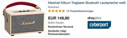 Marshall Kilburn Tragbarer Bluetooth Lautsprecher in Weiß - jetzt 14% billiger