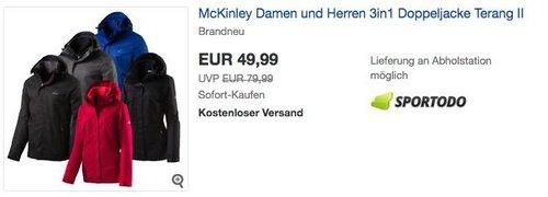 McKinley Damen und Herren 3in1 Doppeljacke Terang II - jetzt 16% billiger