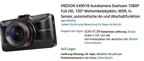 MEDION E49018 Autokamera Dashcam 1080P Full HD - jetzt 13% billiger