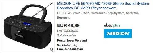 MEDION LIFE E64070 MD 43089 Stereo Sound System mit CD- / Radio-/ MP3- / Kassettenspieler - jetzt 17% billiger